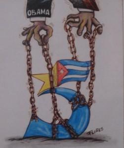 Cuban art work which criticizes the US position on the Cuban Five.   Museo de la Revolución, Havana, Cuba, 2013.  Photo credit: A. Diptee